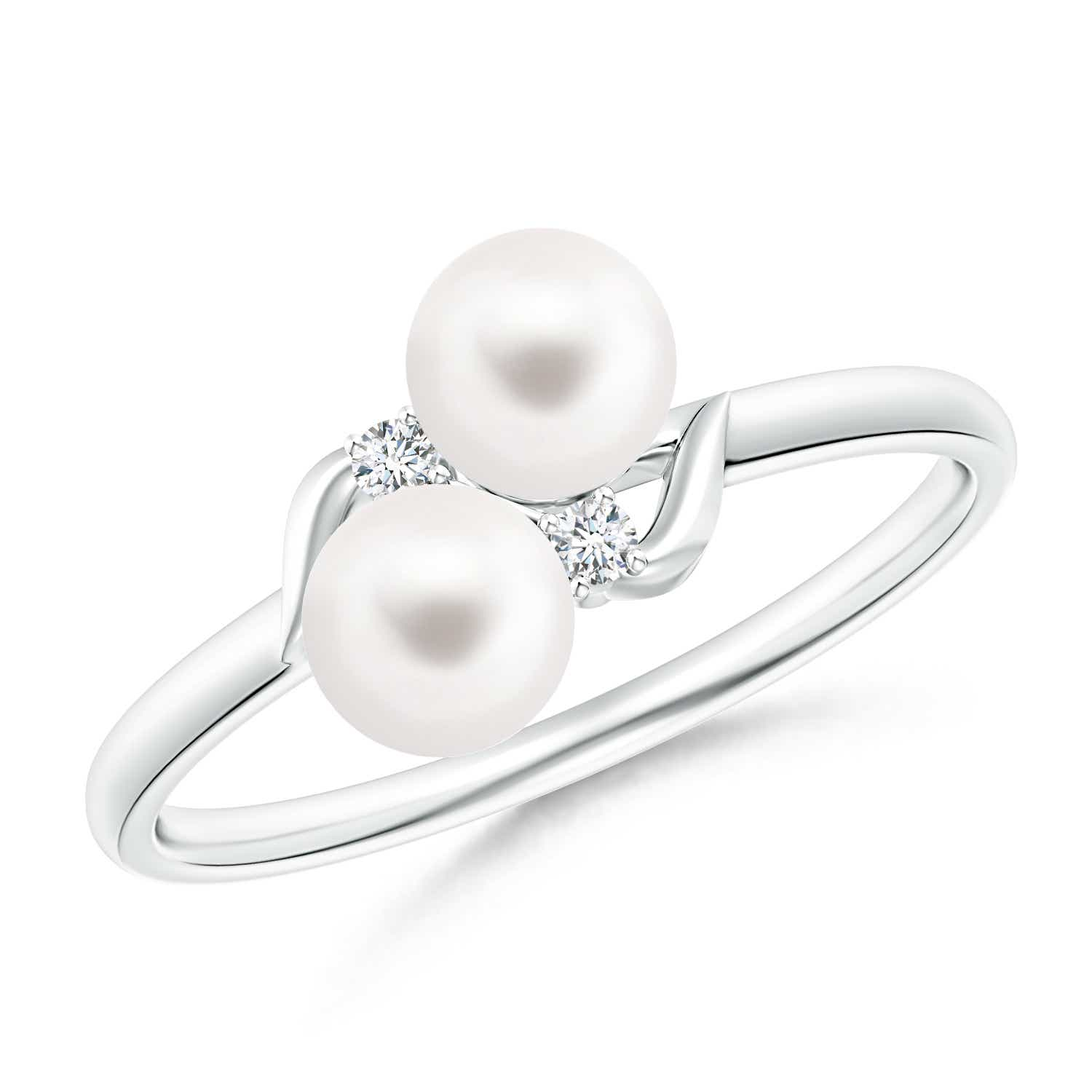 Angara Two Stone Freshwater Cultured Pearl Ring with Diamond Accents