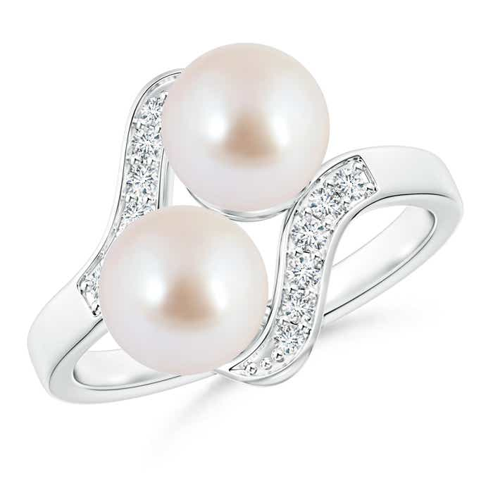 Bypass Dual Akoya Cultured Pearl Ring with Diamond Accents - Angara.com