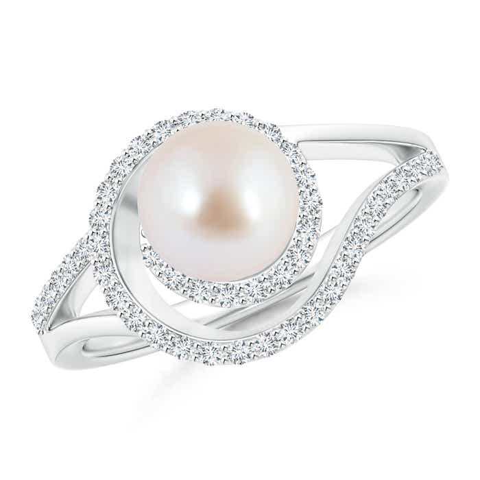 Akoya Cultured Pearl Spiral Halo Engagement Ring with Diamond Accents - Angara.com