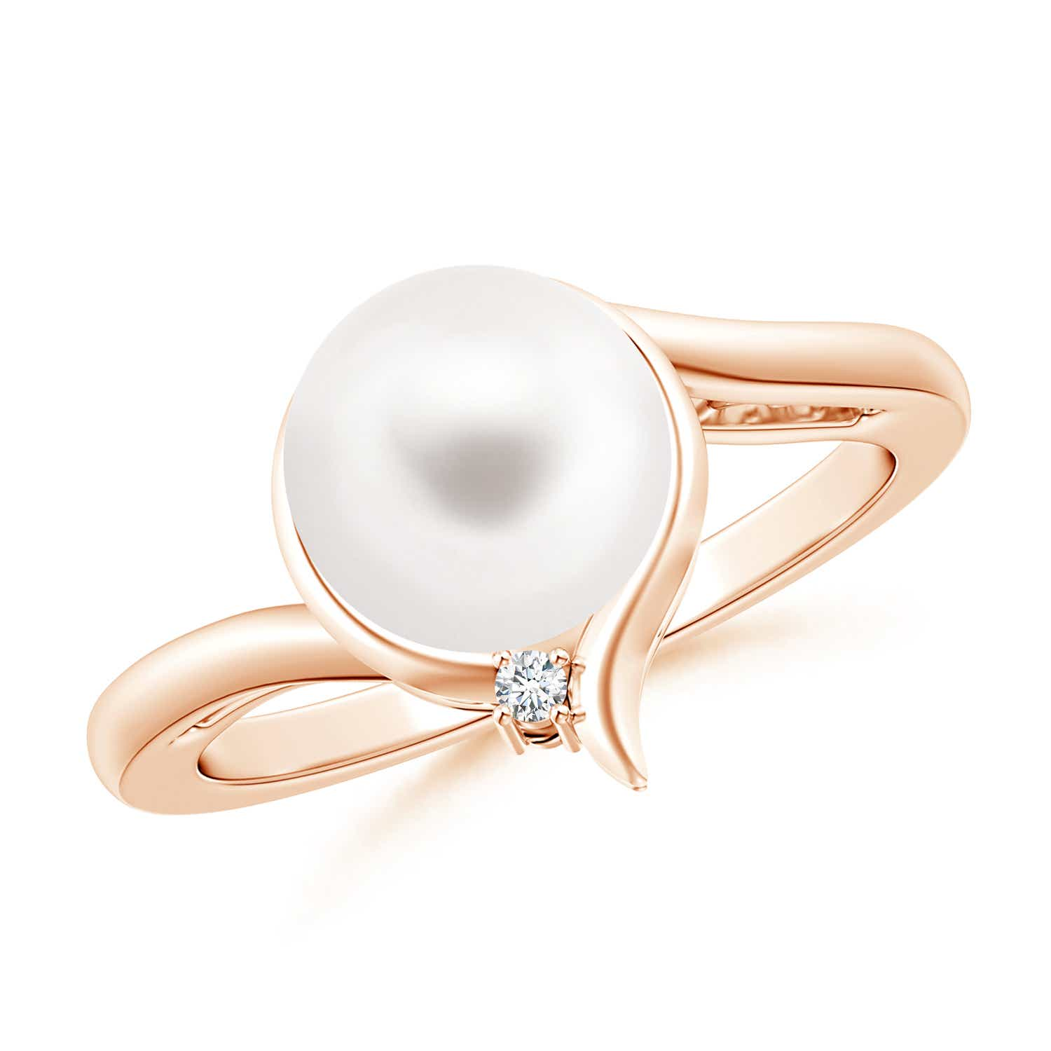 Contemporary FreshWater Cultured Pearl Solitaire Ring with Diamond - Angara.com