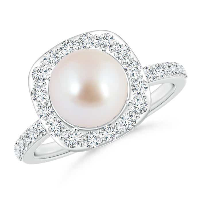 Vintage Inspired Akoya Cultured Pearl and Diamond Halo Ring - Angara.com