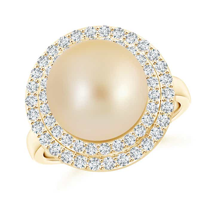 Angara Golden South Sea Cultured Pearl Ring with Double Halo 1dnG1