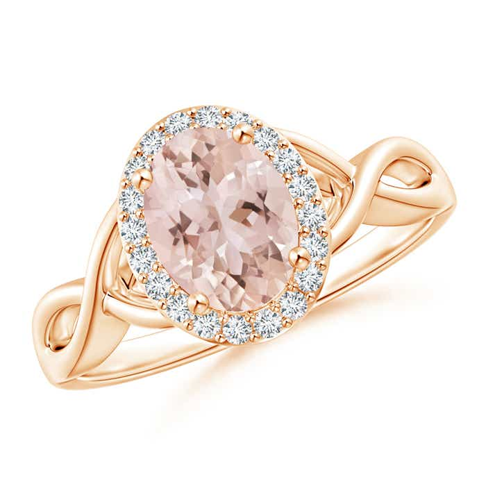 Infinity Twist Oval Morganite Halo Engagement Ring with Diamonds