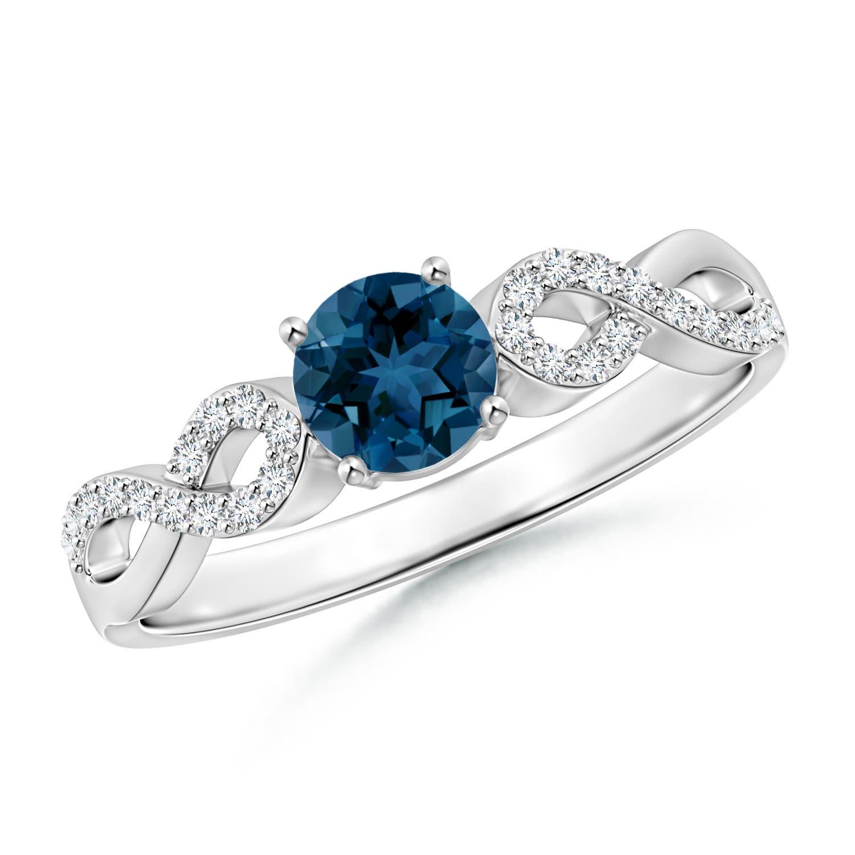 Round London Blue Topaz Infinity Ring with Diamonds - Angara.com