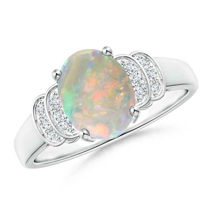Angara Oval Opal and Diamond Band Ring Set in Rose Gold EvJw9cpRAU