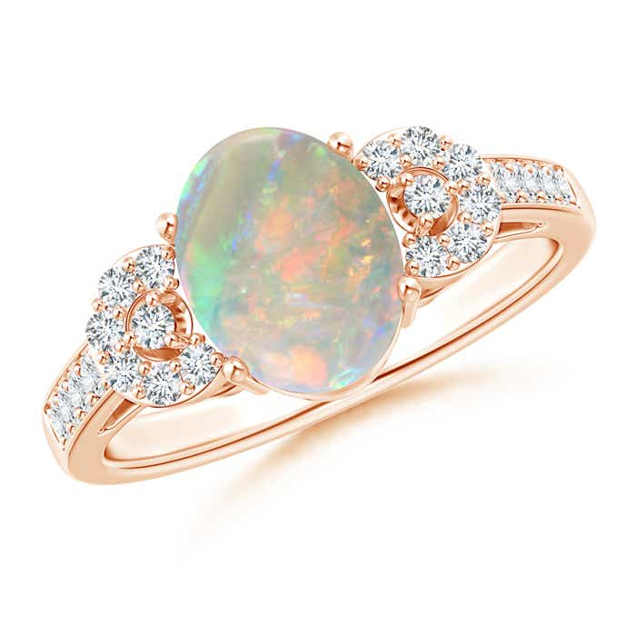Angara Vintage Oval Solitaire Opal Ring with Diamond Accents HOS2kpyMW