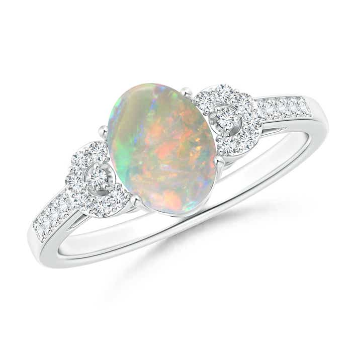 Angara Oval-Shaped Opal Engagement Ring in Rose Gold EPHRDbTl
