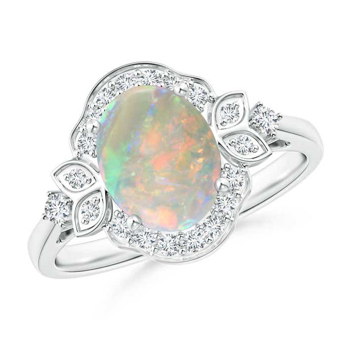 Angara Oval Flower Opal and Diamond Halo Engagement Ring in Platinum v8zcwjfT