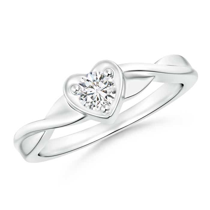 Criss-Cross Solitaire Round Diamond Heart Promise Ring - Angara.com