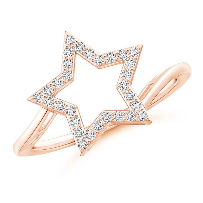 Diamond Open Star Bypass Ring - Angara.com
