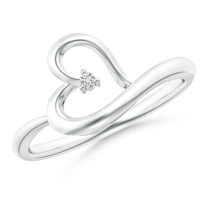 Tiny Round Diamond Tilted Ribbon Heart Ring - Angara.com