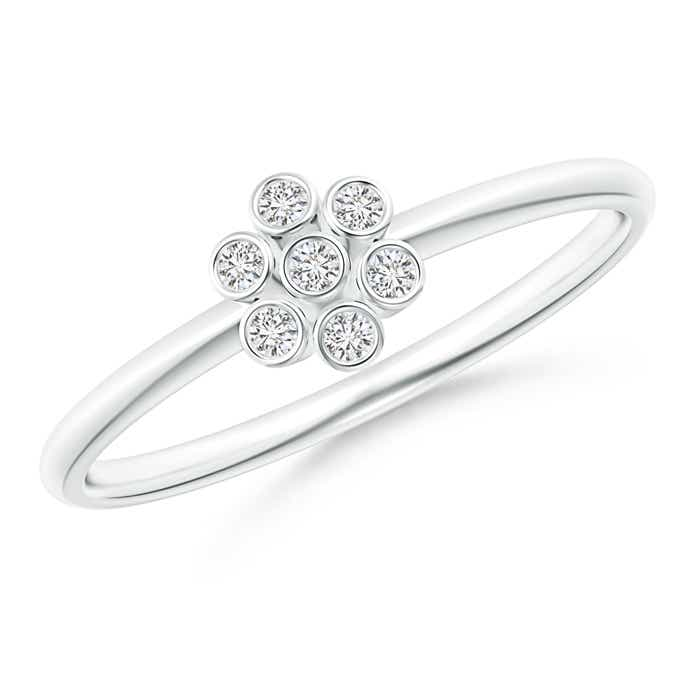 Bezel-Set Round Diamond Dotted Cluster Ring - Angara.com