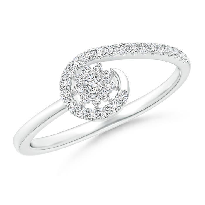 Diamond Flower Cluster Wrap Around Ring - Angara.com