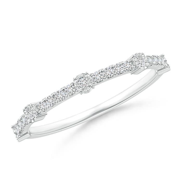 Fusion Round Diamond Half Eternity Wedding Band - Angara.com