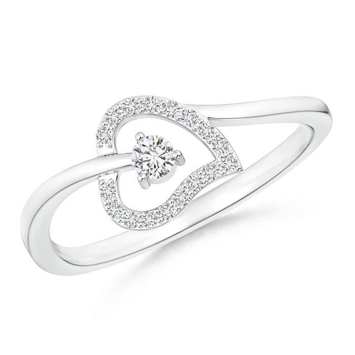 Round Diamond Open Heart Bypass Promise Ring - Angara.com