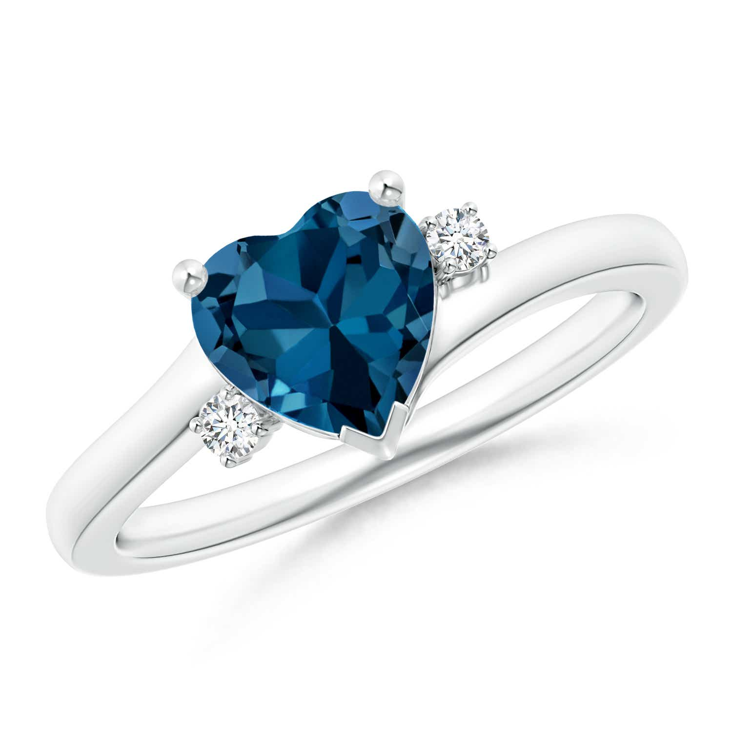 Solitaire Heart London Blue Topaz Bypass Ring with Diamonds - Angara.com