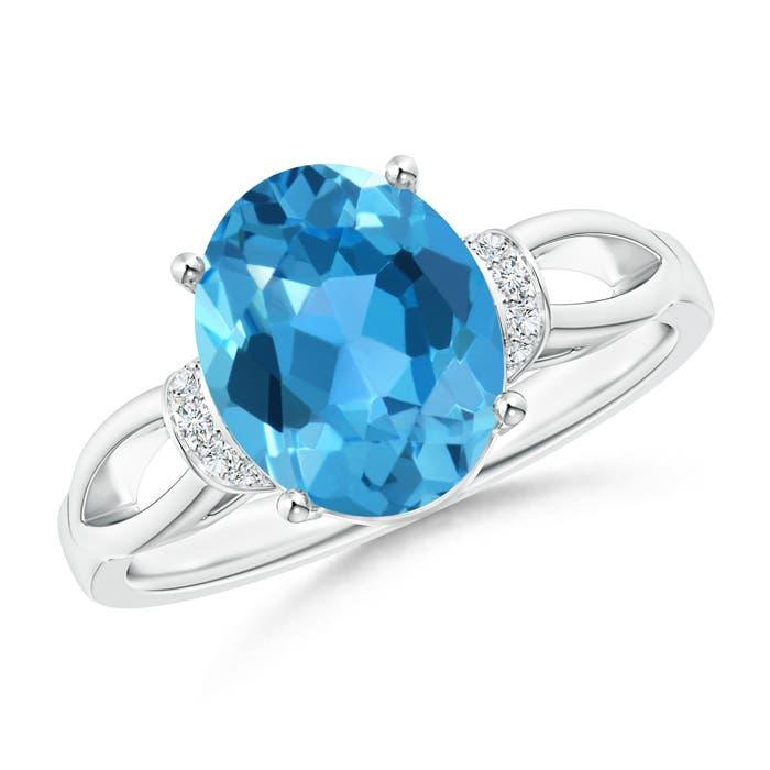 Angara Swiss Blue Topaz and Diamond Split Shank Ring in White Gold 14Z9G