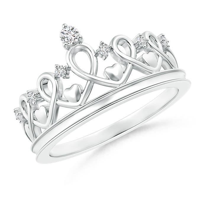 Round Diamond Princess Heart Tiara Ring - Angara.com