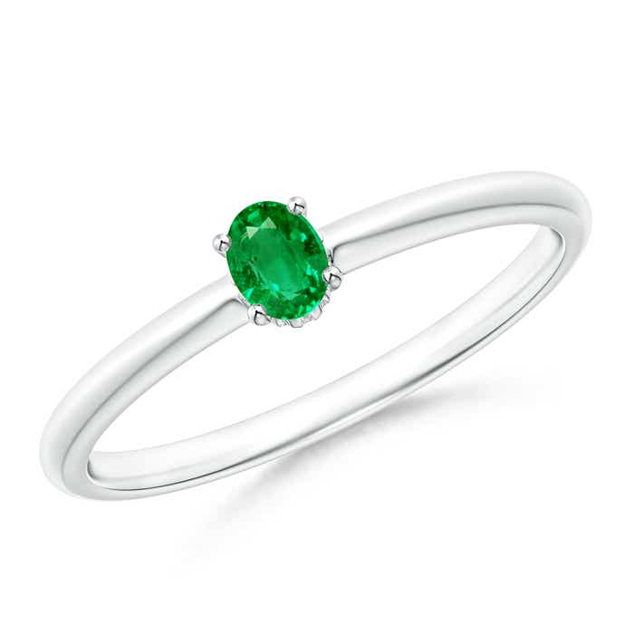 Classic Solitaire Oval Emerald Promise Ring - Angara.com