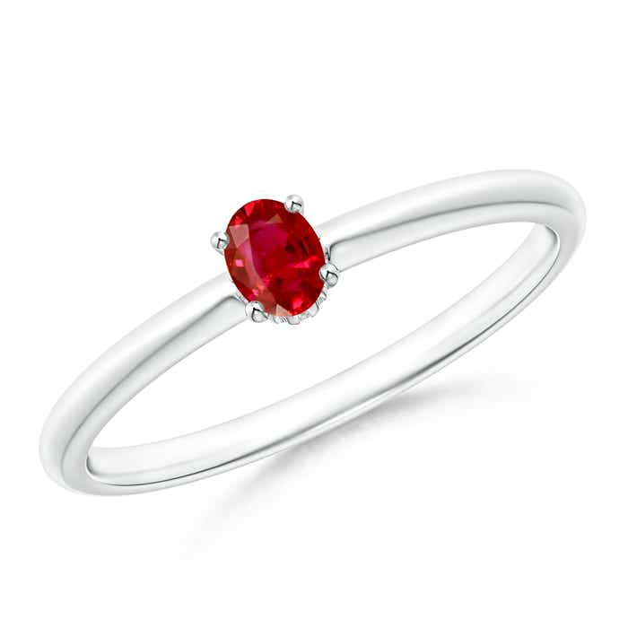 Classic Solitaire Oval Ruby Promise Ring - Angara.com