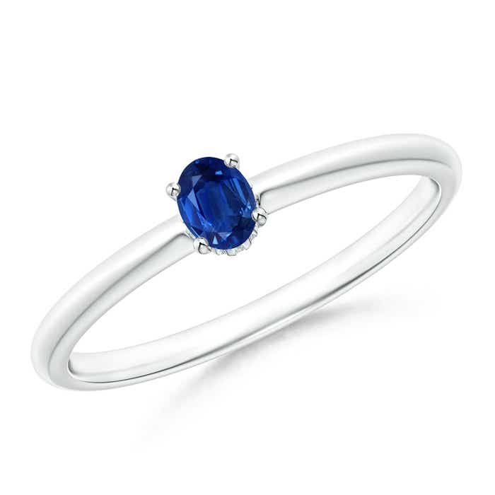 Classic Solitaire Oval Blue Sapphire Promise Ring - Angara.com