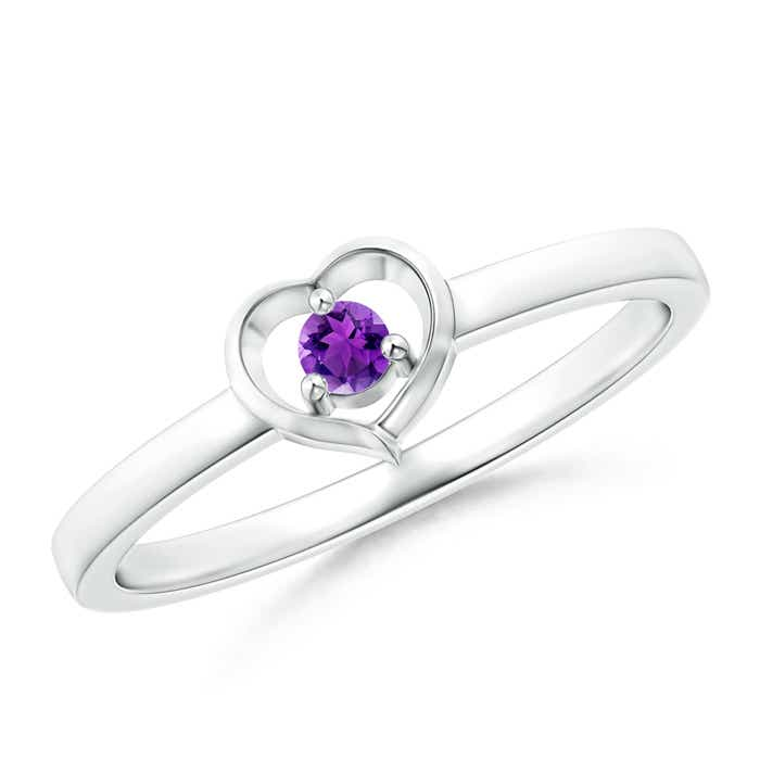 Floating Round Amethyst Open Heart Promise Ring - Angara.com