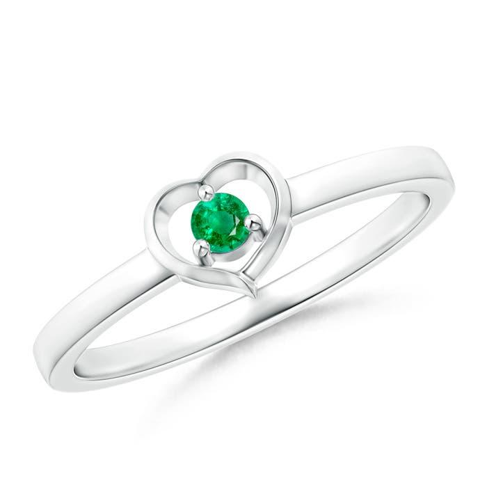 Angara 3-Prong-Set Heart Emerald Ring in Platinum y5iMm