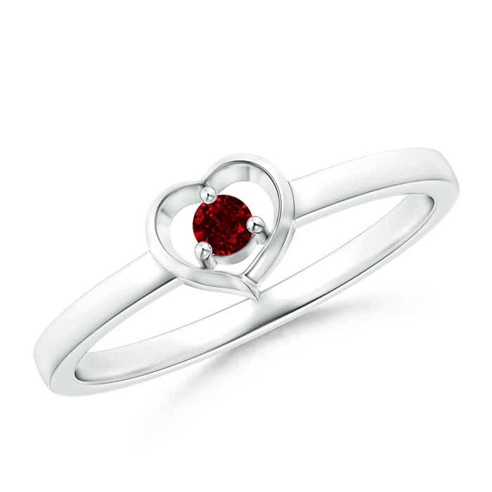 Angara Prong Set Round Ruby Curved Shank Ring in 14k White Gold 0A4UKGUVbc