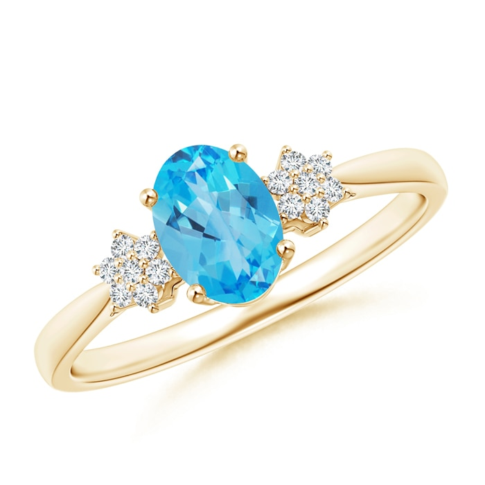 Angara Natural Swiss Blue Topaz Solitaire Ring in Yellow Gold txo4nbbL
