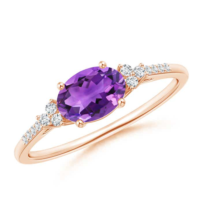Horizontally Set Oval Amethyst Solitaire Ring with Trio Diamond Accents - Angara.com