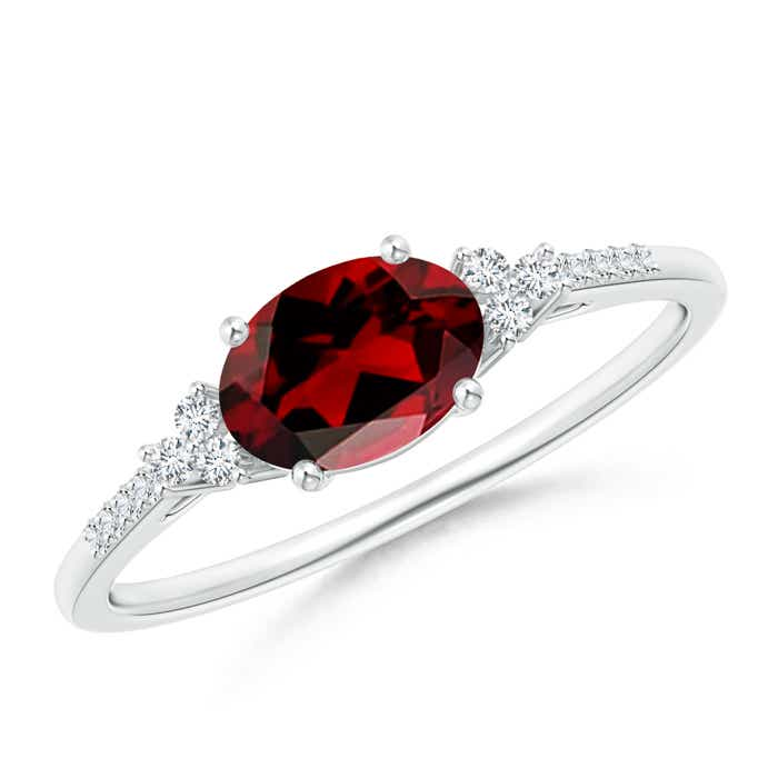 0a269b1c9634d Horizontally Set Oval Garnet Solitaire Ring with Trio Diamond Accents