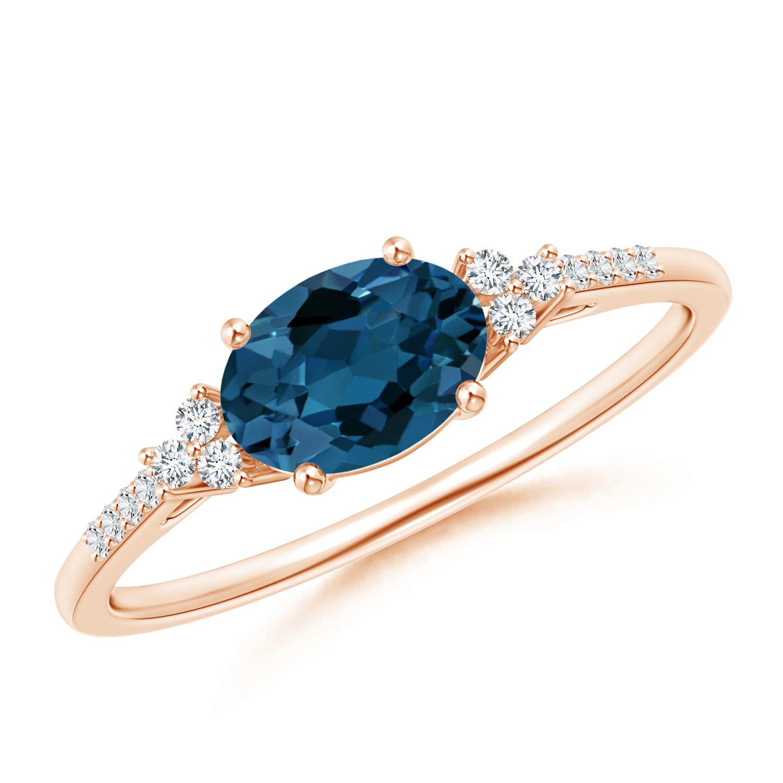 Horizontally Set Oval London Blue Topaz Ring with Diamonds - Angara.com