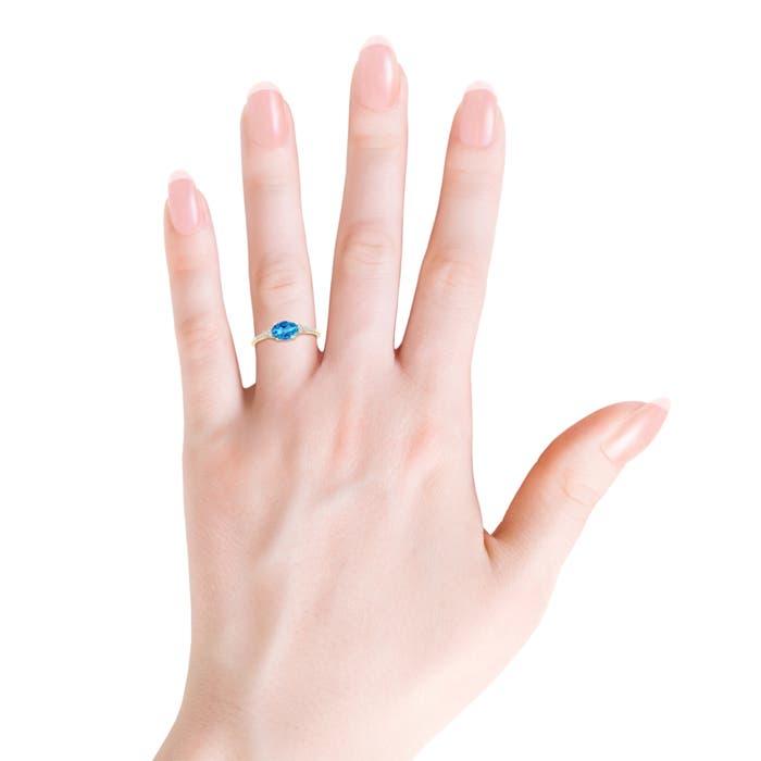 7x5mm London Blue Topaz Horizontally Set Oval London Blue Topaz Ring with Diamonds