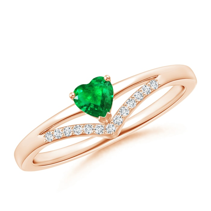 Angara Solitaire Heart Emerald Chevron Ring with Diamond in 14K Yellow Gold xndAsbs