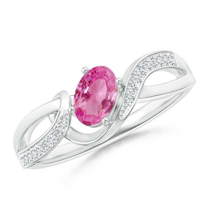 Solitaire Oval Pink Sapphire Twisted Ribbon Ring with Pave Diamond Accents - Angara.com