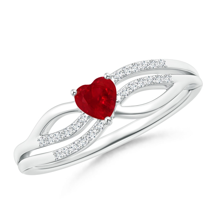 Angara Solitaire Ruby Ring with Diamond in White Gold