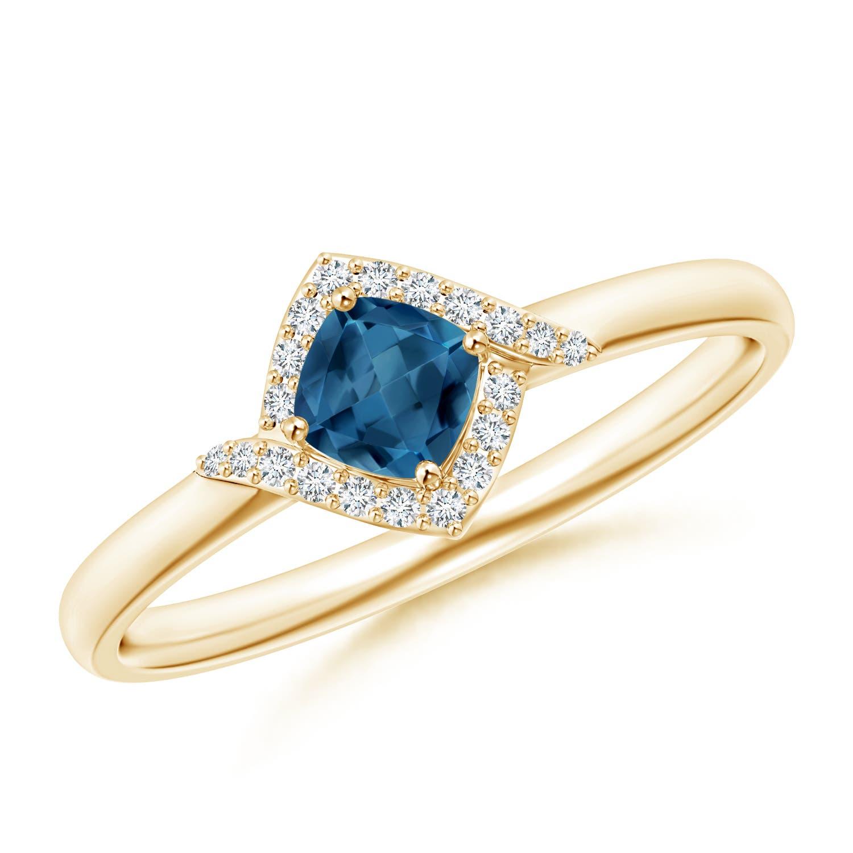 Angara Cushion London Blue Topaz and Diamond Halo Promise Ring baCR0UY24