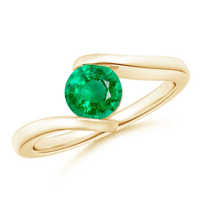 Angara Bar-Set Solitaire Round Emerald Bypass Ring EM1nnY