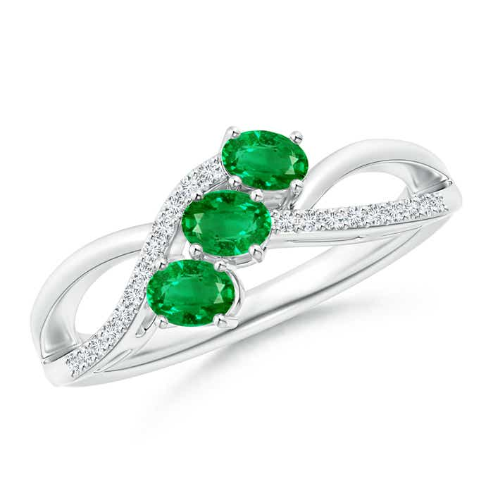 Oval Emerald Three Stone Bypass Ring with Diamonds - Angara.com