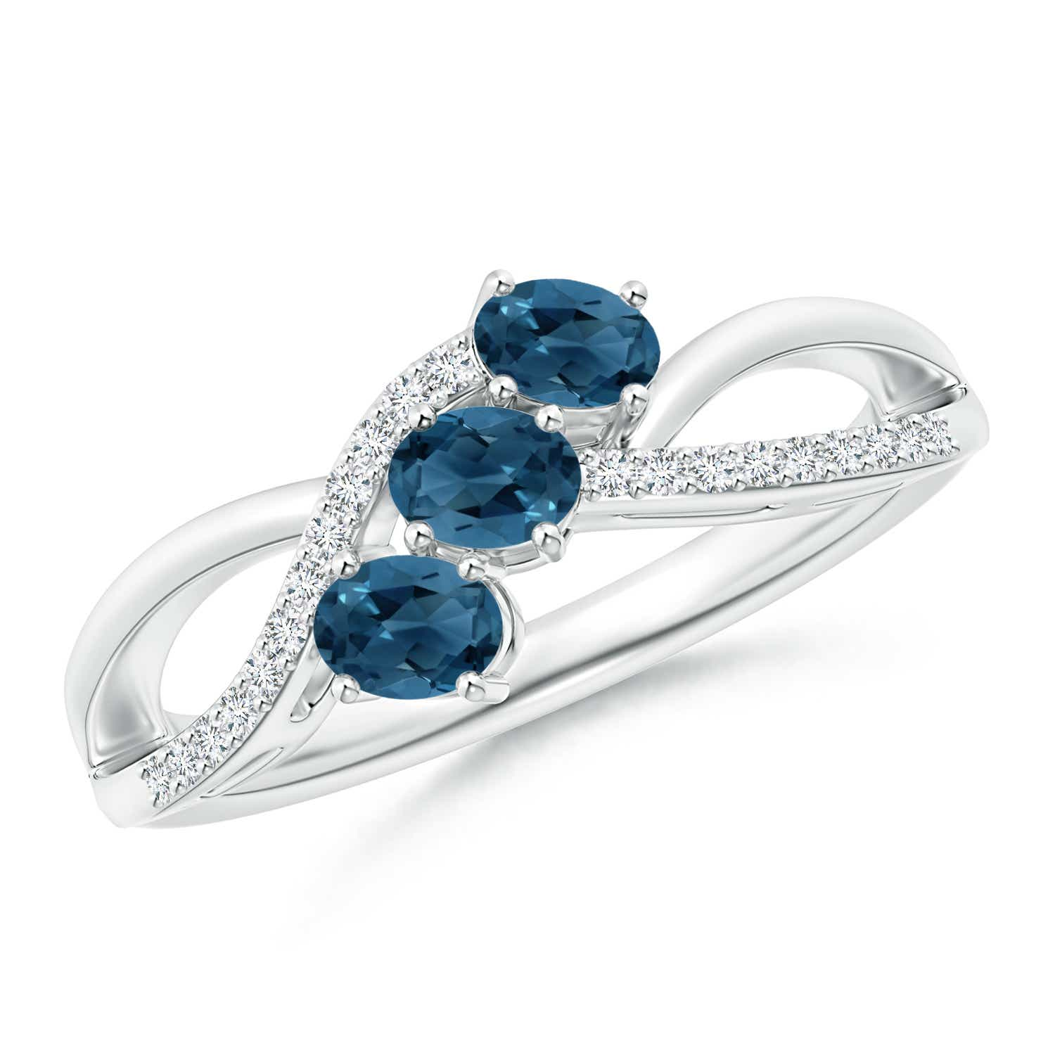 Angara Oval London Blue Topaz and Diamond Three Stone Ring hyF5ZK