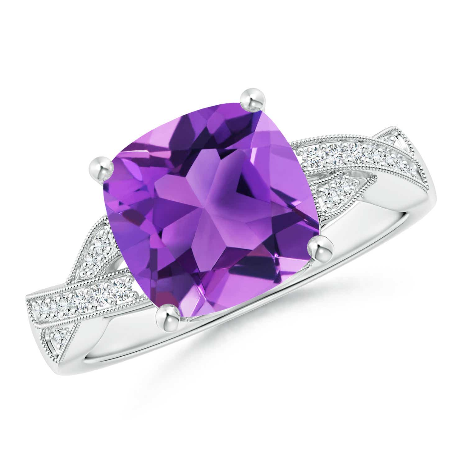 Solitaire Cushion Amethyst Criss Cross Ring with Diamonds - Angara.com