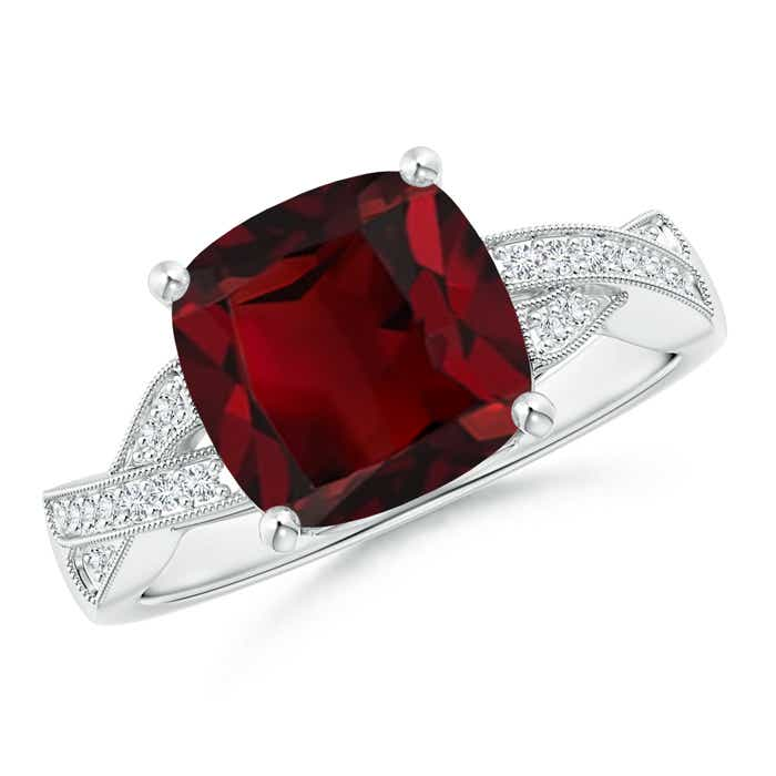 Solitaire Cushion Garnet Criss Cross Ring with Diamonds - Angara.com