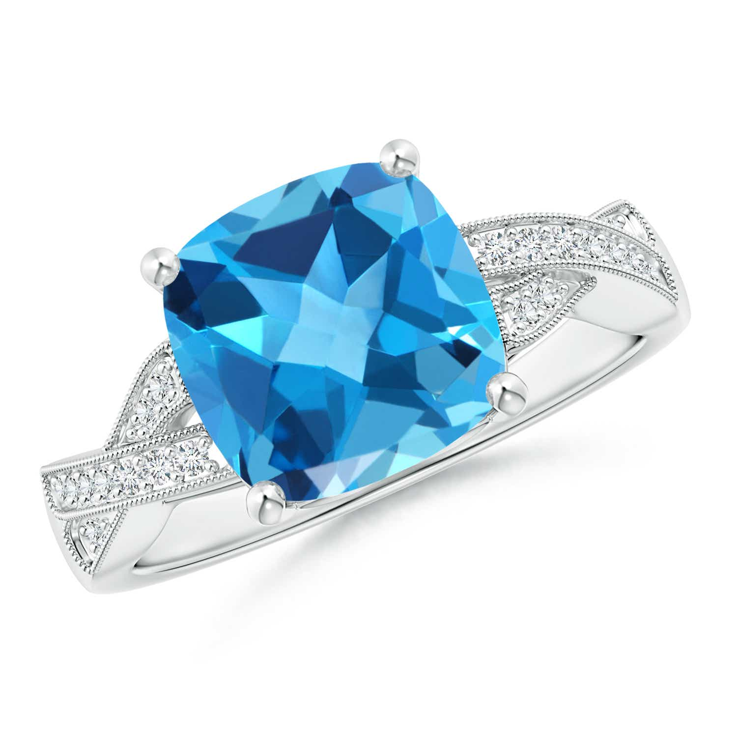Solitaire Cushion Swiss Blue Topaz Criss Cross Ring with Diamonds - Angara.com