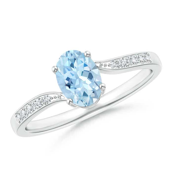 Solitaire Oval Aquamarine Bypass Ring with Pave Diamond Accents - Angara.com