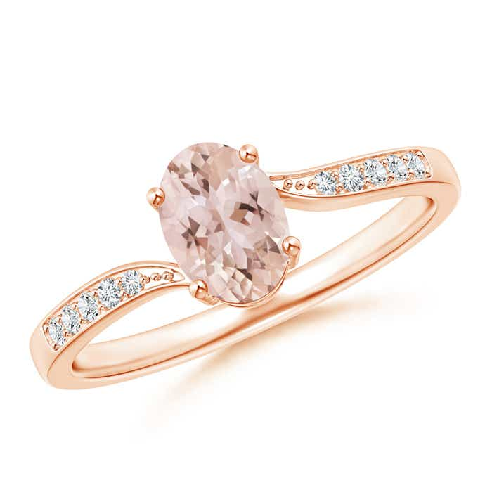 Solitaire Oval Morganite Bypass Ring with Pave Diamond Accents - Angara.com