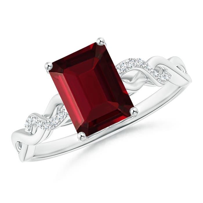 Solitaire Emerald Cut Garnet and Diamond Infinity Twist Ring - Angara.com