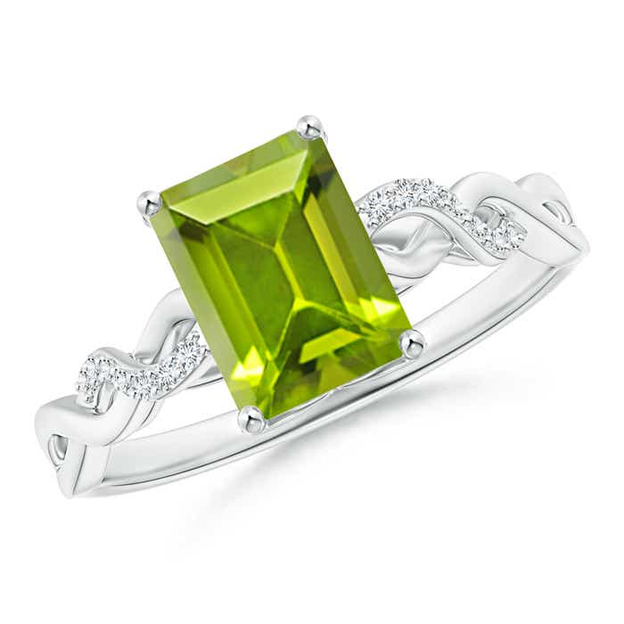 solitaire emerald cut peridot and infinity twist