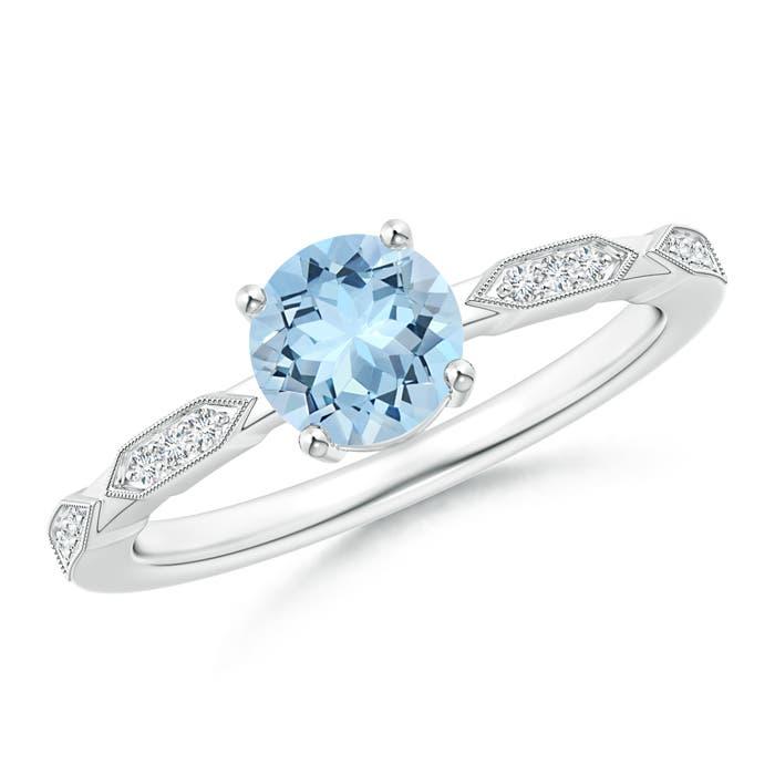 Classic Round Aquamarine Solitaire Ring with Quad Diamond Accents - Angara.com