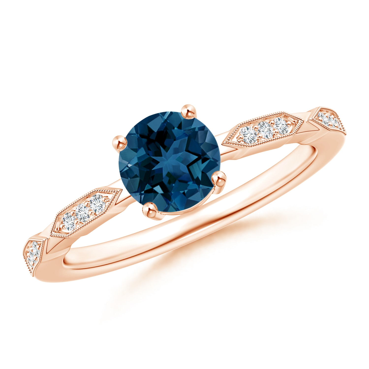 London Blue Topaz Solitaire Ring with Diamond Accents - Angara.com