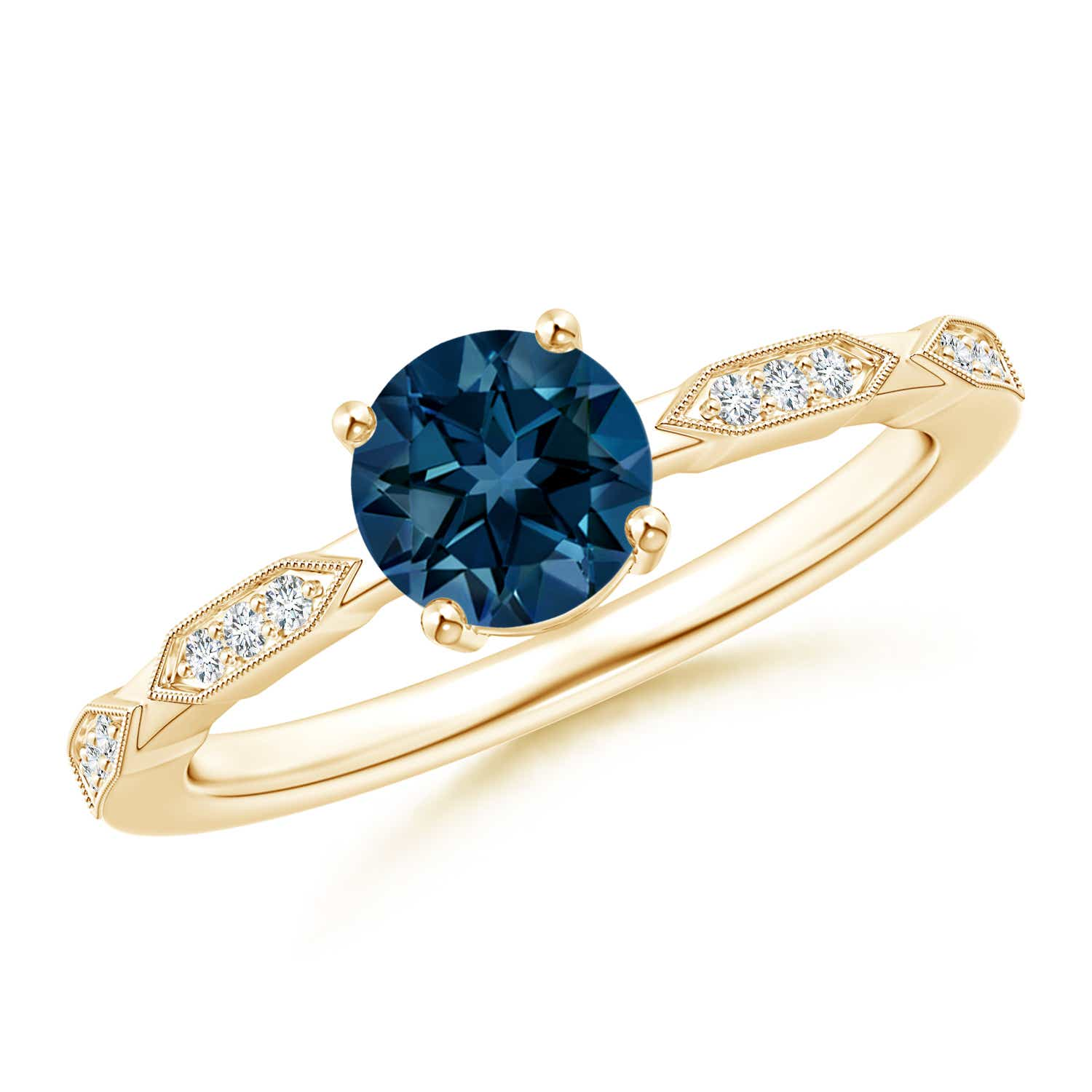 Angara Natural London Blue Topaz Solitaire Ring in Yellow Gold Vjx9FH0